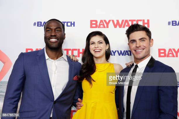Yahya AbdulMateen Alexandra Daddario and Zac Efron attend the Australian premiere of 'Baywatch' at Hoyts EQ on May 18 2017 in Sydney Australia
