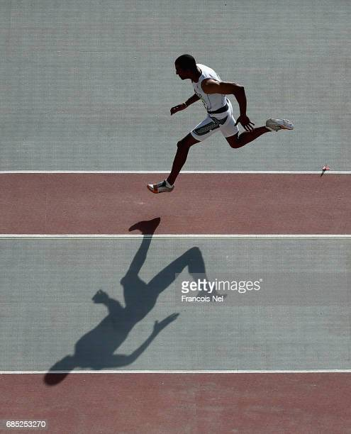 Yahya Berrabah of Marocco competes in the Mens Long Jump Final during day eight of Baku 2017 4th Islamic Solidarity Games at the Baku Olympic Stadium...