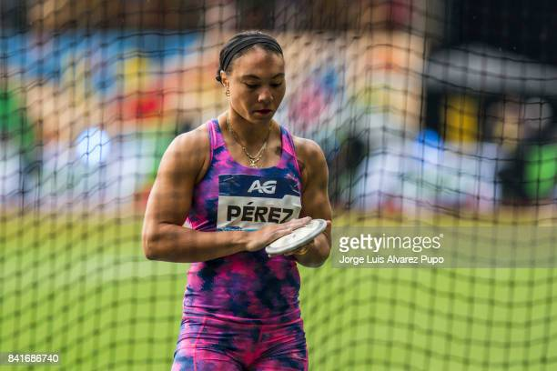 Yaimé Pérez of Cuba competes in women's Discus Throw during the AG Insurance Memorial Van Damme as part of the IAAF Diamond League 2017 in King...