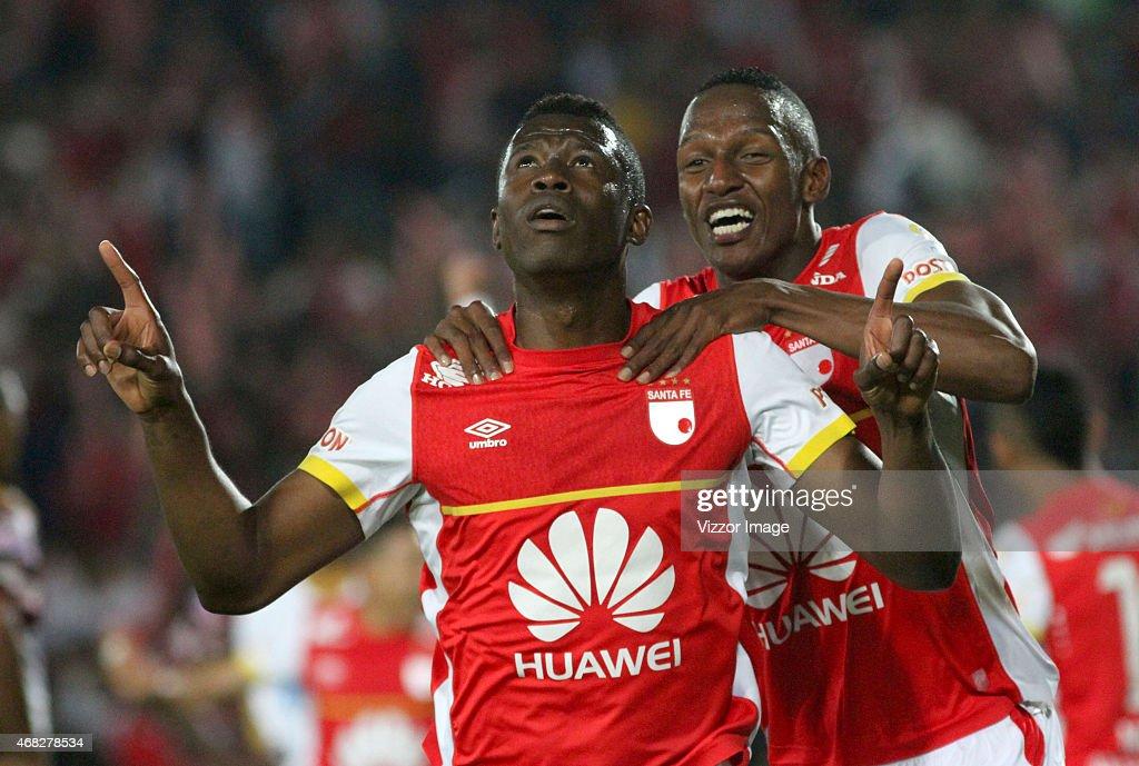 Yair Arrechea of Independiente Santa Fe celebrates a scored goal to Deportes Tolima during a match between Independiente Santa Fe and Deportes Tolima...