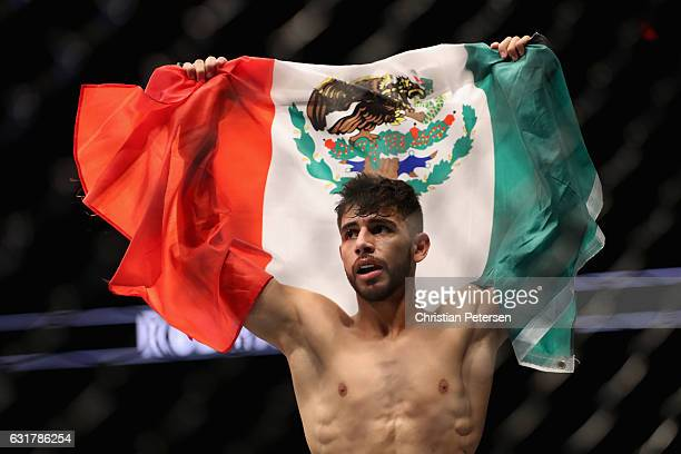 Yair Rodriguez celebrates his victory over BJ Penn during the UFC Fight Night event at the at Talking Stick Resort Arena on January 15 2017 in...