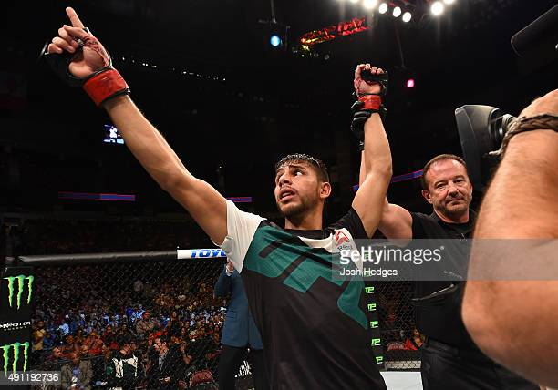 Yair Rodriguez celebrates his victory over Dan Hooker in their featherweight bout during the UFC 192 event at the Toyota Center on October 3 2015 in...