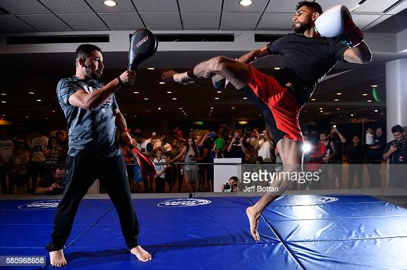 Yair Rodriguez of Mexico holds an open workout session for the media at Vivint Smart Home Arena on August 4 2016 in Salt Lake City Utah