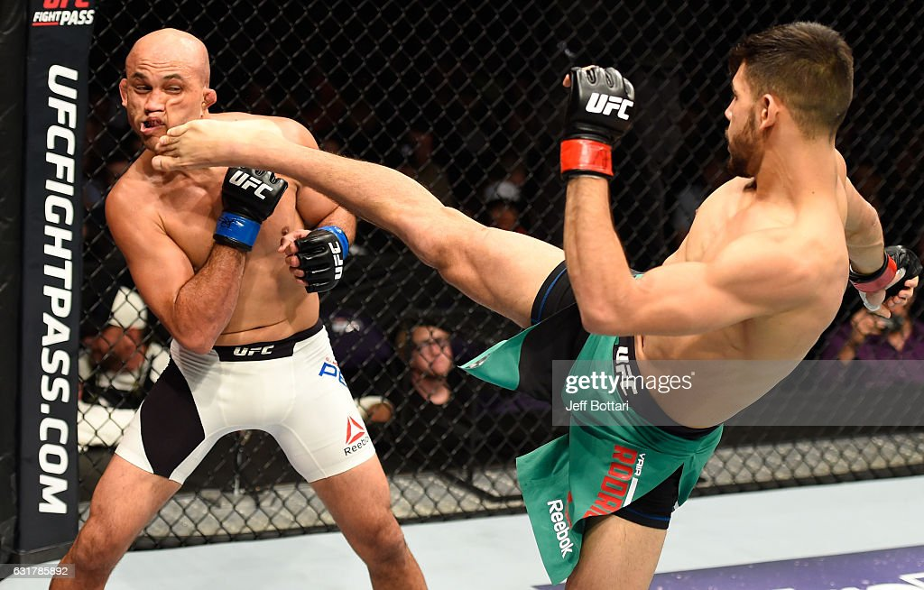Yair Rodriguez of Mexico kicks BJ Penn in their featherweight bout during the UFC Fight Night event inside Talking Stick Resort Arena on January 15, 2017 in Phoenix, Arizona.