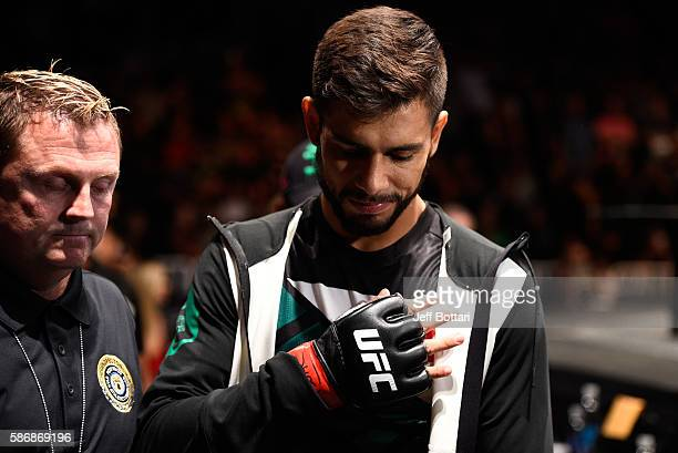 Yair Rodriguez of Mexico prepares to enter the Octagon before facing Alex Caceres in their featherweight bout during the UFC Fight Night event at...