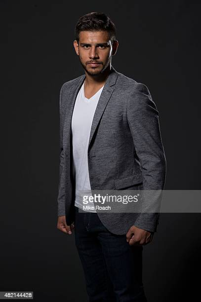 Yair Rodriguez poses for a portrait backstage during the UFC event at the United Center on July 25 2015 in Chicago Illinois