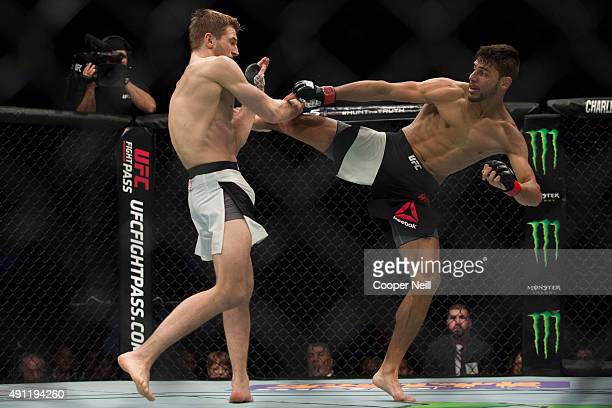 Yair Rodriguez throws a kick against Daniel Hooker during UFC 192 at the Toyota Center on October 3 2015 in Houston Texas