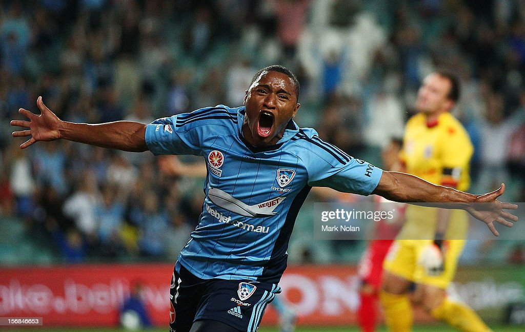 Yairo Yau of Sydney celebrates scoring a goal during the round eight A-League match between Sydney FC and Adelaide United at Allianz Stadium on November 23, 2012 in Sydney, Australia.
