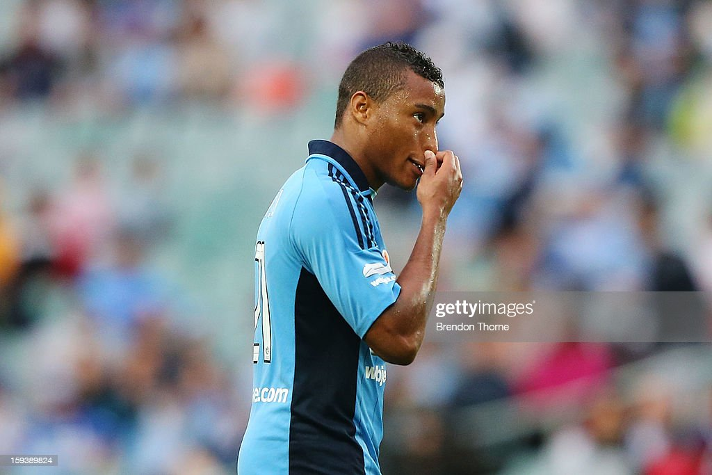 Yairo Yau of Sydney looks dejected after missing a scoring opportunity during the round 16 A-League match between Sydney FC and the Melbourne Heart at Allianz Stadium on January 13, 2013 in Sydney, Australia.