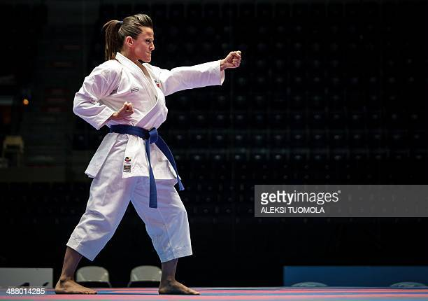 Yaiza Martin Abello of Spain is pictured during the finals of the women's Kata competition of the Karate European Champions on May 3 2014 in Tampere...