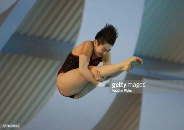 Yajie Si of China competes in the Women's 10m Final during the 2017 FINA Diving World Series at the Windsor International Aquatic and Training Centre...