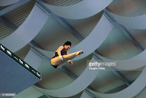 Yajie Si of China competes in the Women's 10m Semifinal A during the FINA/NVC Diving World Series at the Windsor International Aquatic Training...