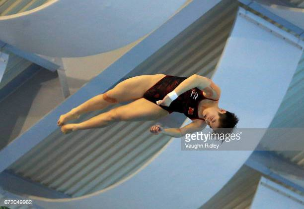 Yajie Si of China competes in the Women's 10m Semifinal A during the 2017 FINA Diving World Series at the Windsor International Aquatic and Training...