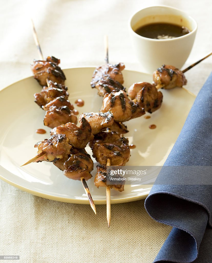 Yakitori, or Japanese grilled chicken skewers