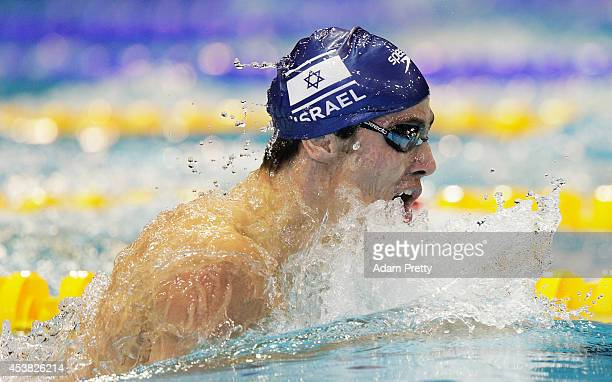 Yakov Yan Toumarkin swims the Men's 200m medley semi final during the 32nd LEN European Swimming Championships at EuropaSportpark on August 19 2014...