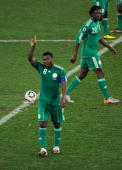 Yakubu Ayegbeni of Nigeria celebrates after scoring a penalty during the 2010 FIFA World Cup South Africa Group B match between Nigeria and South...