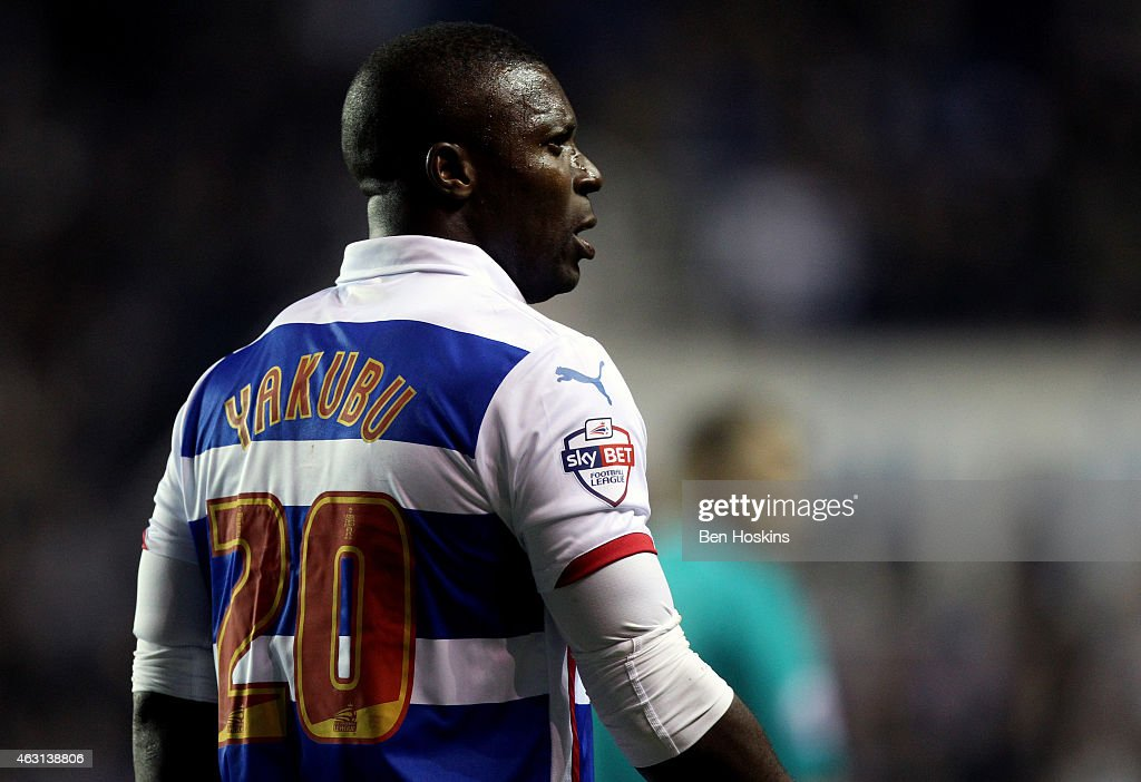 Yakubu of Reading looks on during the Sky Bet Championship match between Reading and Leeds United at Madejski Stadium on February 10, 2015 in Reading, England.