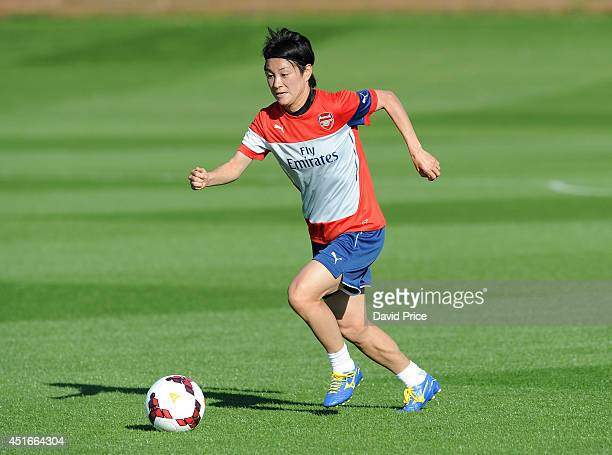 Yakuri Kinga of Arsenal Ladies during their training session at London Colney on July 3 2014 in St Albans England