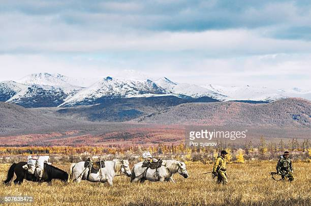 Yakuts - the indigenous people of the North on  hunt.