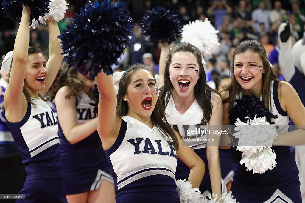 Yale Bulldogs cheerleaders celebrate after the Yale Bulldogs defeated the Baylor Bears 7975 during the first round of the 2016 NCAA Men's Basketball...