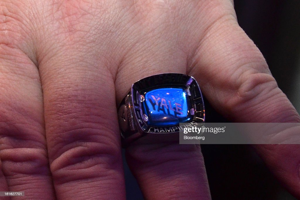 A Yale Ivy League football championship ring is shown at the Ivy Football Association Dinner at the Marriott Marquis in New York, U.S., on Thursday, Feb. 7, 2013. The event brought together alumni who played football for the eight schools in the Ivy League: Brown, Columbia, Cornell, Dartmouth, Harvard, University of Pennsylvania, Princeton and Yale. Photographer: Amanda Gordon/Bloomberg via Getty Images