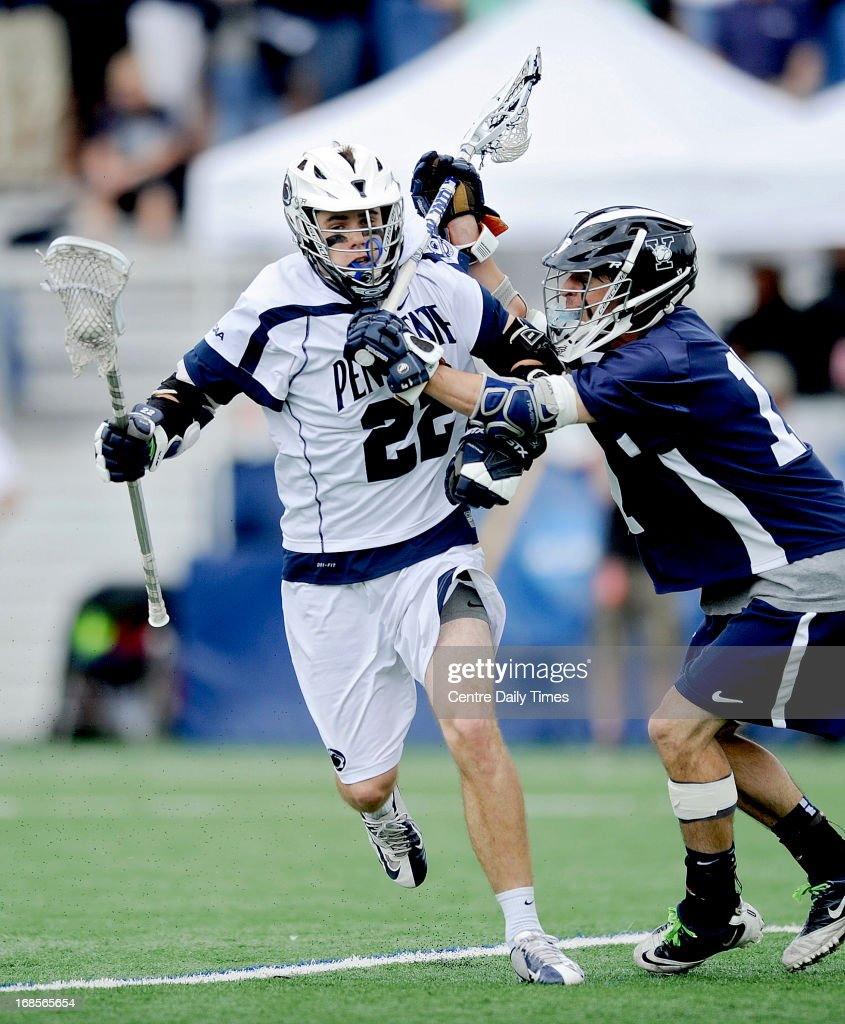 Yale's Alexander Otero, right, tries to stop Penn State's Pat Manley during the first round of the NCAA men's lacrosse tournament in State College, Pennsylvania, Saturday, May 11, 2013.
