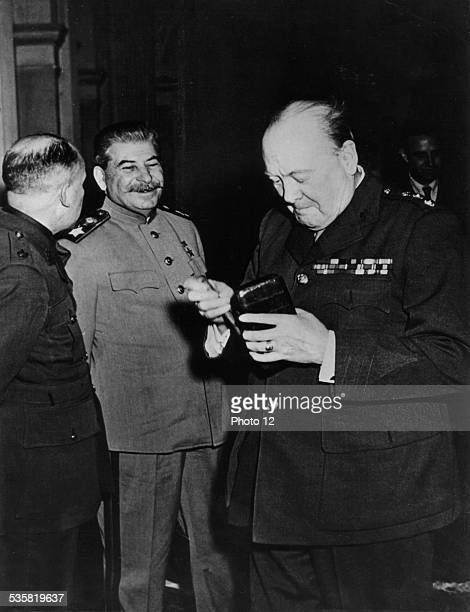 Yalta conference Stalin and Winston S Churchill during a break February 1945 USSR World War II