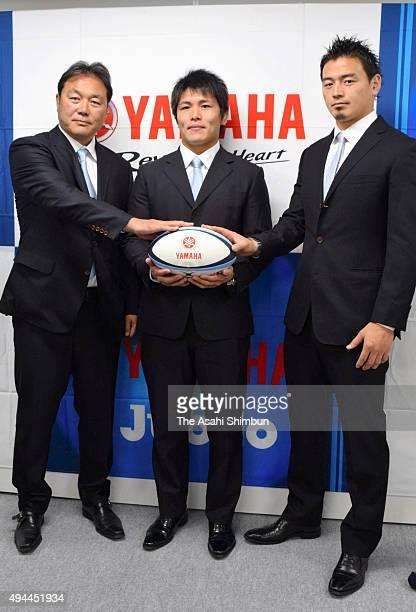 Yamaha Jubilo head coach Katsuyuki Kiyomiya captain Yuhimaru Mimura and Ayumu Goromaru pose for photographs during a press conference ahead of the...