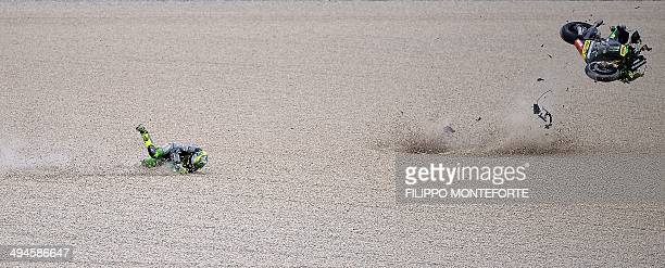 Yamaha MotoGP rider Pol Espargaro of Spain crashes during the first free practice session of the Italian Grand Prix in Mugello racetrack on May 30...