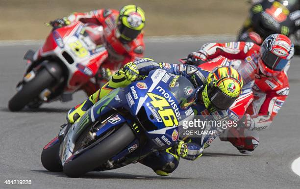 Yamaha MotoGP's Italian rider Valentino Rossi competes during the Moto GP Czech Grand Prix in Brno Czech Republic on August 16 2015 Yamaha MotoGP's...