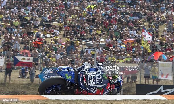 Yamaha MotoGP's Spanish rider Jorge Lorenzo competes during the Moto GP Czech Grand Prix in Brno Czech Republic on August 16 2015 Yamaha MotoGP's...