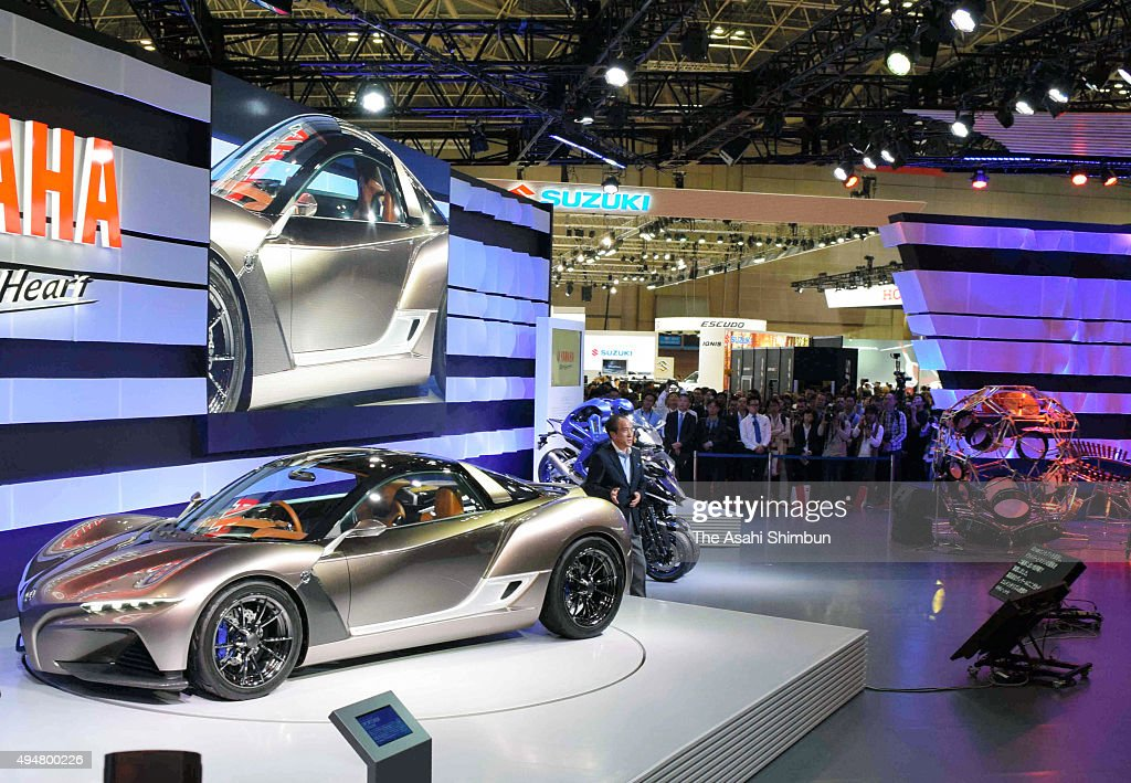 Yamaha Motor Co President Hiroyuki Yanagi introduces the Sports Ride Concept during the Tokyo Motor Show at Tokyo Big Sight on October 28, 2015 in Tokyo, Japan. 160 companies from 11 countries exhibit at the biennial motor show, which is open to public from October 30 to November 8.