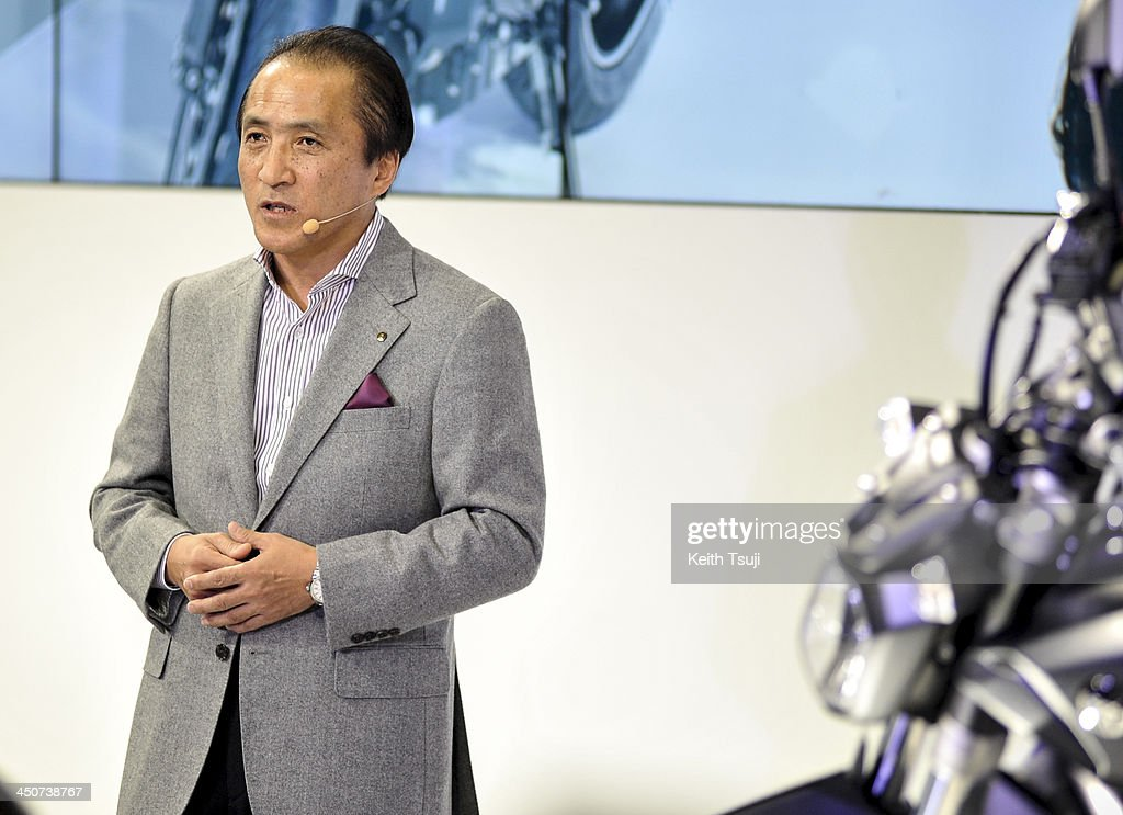 Yamaha Motor Corp. CEO <a gi-track='captionPersonalityLinkClicked' href=/galleries/search?phrase=Hiroyuki+Yanagi&family=editorial&specificpeople=2322752 ng-click='$event.stopPropagation()'>Hiroyuki Yanagi</a> speaks during the press briefing at the Tokyo Motor Show 2013 at Tokyo Big Sight in Tokyo on November 20, 2013. The 43rd Tokyo Motor Show 2013 will be open to public from November 22nd to December 1st, 2013.