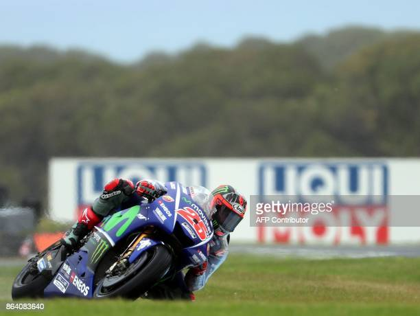 Yamaha rider Maverick Vinales of Spain powers his machine during the third practice session of the Australian MotoGP Grand Prix at Phillip Island on...