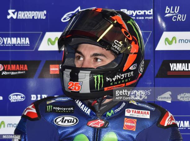 Yamaha rider Maverick Vinales of Spain prepares for the second practice session of the Australian MotoGP Grand Prix at Phillip Island on October 20...