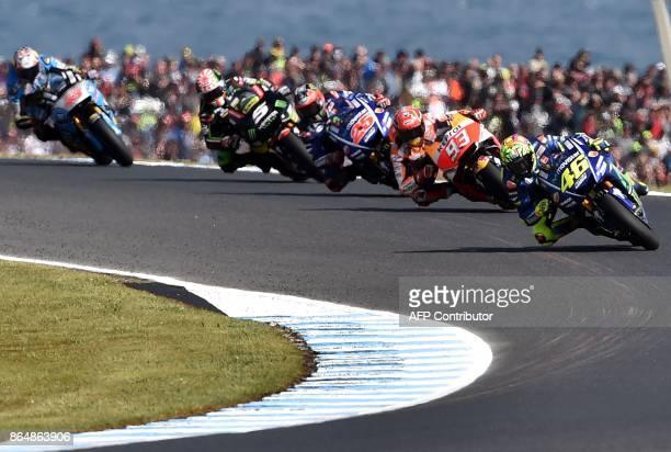 Yamaha rider Valentino Rossi of Italy Honda rider Marc Marquez of Spain Yamaha rider Maverick Vinales of Spain and Yamaha Tech3 rider Johann Zarco of...