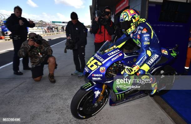 Yamaha rider Valentino Rossi of Italy leaves his garage during the first practice session of the Australian MotoGP Grand Prix at Phillip Island on...