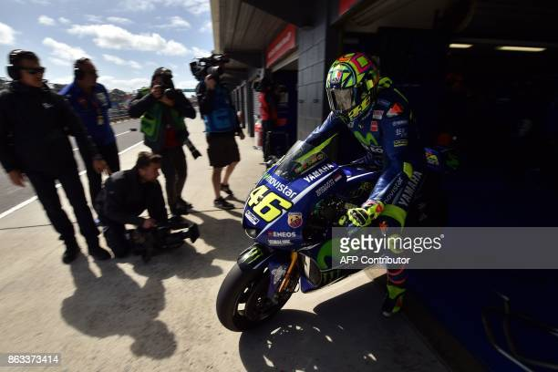 Yamaha rider Valentino Rossi of Italy leaves the pit lane during the second practice session of the Australian MotoGP Grand Prix at Phillip Island on...