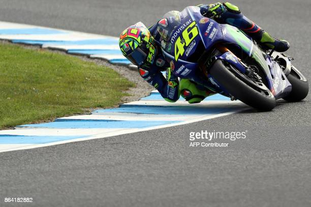 Yamaha rider Valentino Rossi of Italy negitiate a corner during the qualifying session of the Australian MotoGP Grand Prix at Phillip Island on...