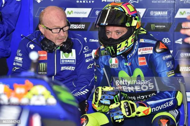 Yamaha rider Valentino Rossi of Italy prepares for the second practice session of the Australian MotoGP Grand Prix at Phillip Island on October 20...