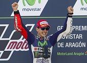Yamaha Team's Spanish rider Jorge Lorenzo celebrates on the podium after winning the Moto GP race of the Aragon Grand Prix at the Motorland racetrack...