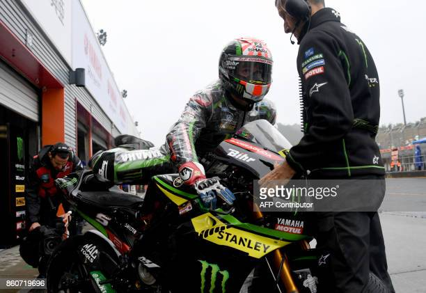 Yamaha Tech3 rider Johann Zarco of France leaves his pit during the first practice round of the MotoGP Japanese Grand Prix at Twin Ring Motegi...