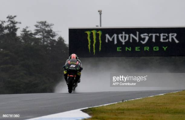 Yamaha Tech3 rider Johann Zarco of France powers his machine during the second practice session of the MotoGP Japanese Grand Prix at Twin Ring Motegi...