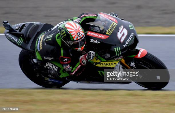 Yamaha Tech3 rider Johann Zarco of France powers his machine during the third practice round of the MotoGP Japanese Grand Prix at Twin Ring Motegi...