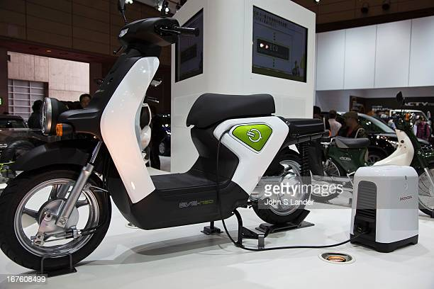 Yamaha unveils the new EVEneo electric motorbike at the Tokyo Motor Show a biennial auto show held in October or November at the Makuhari Messe event...