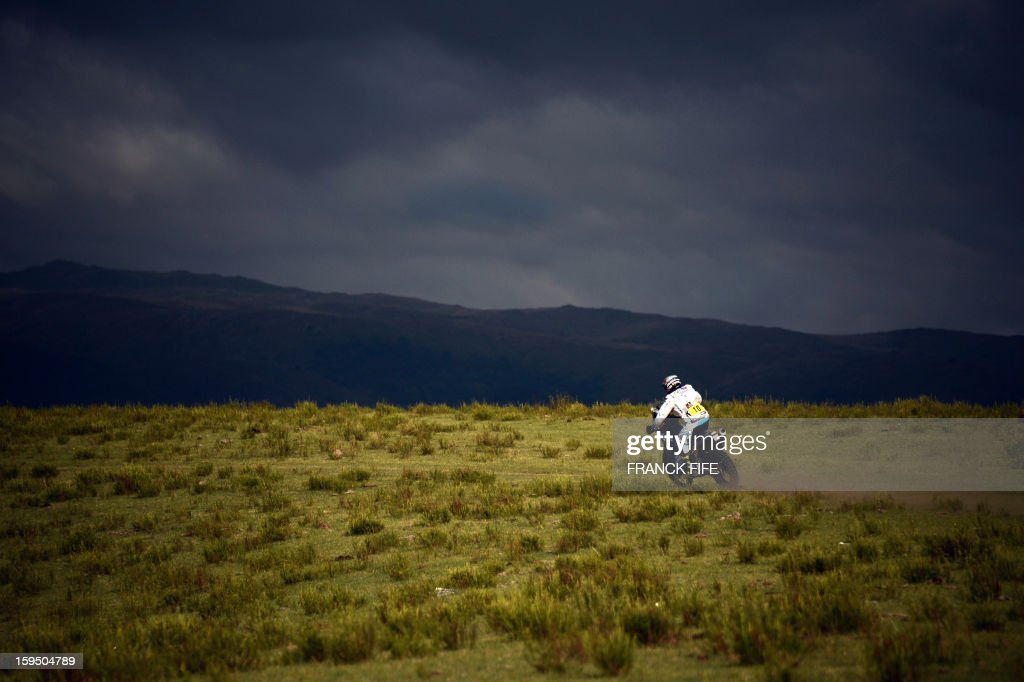 Yamaha's rider David Casteu of France competes during the Stage 9 of the Dakar 2013 between Tucuman and Cordoba, Argentina, on January 14, 2013. The rally takes place in Peru, Argentina and Chile between January 5 and 20.