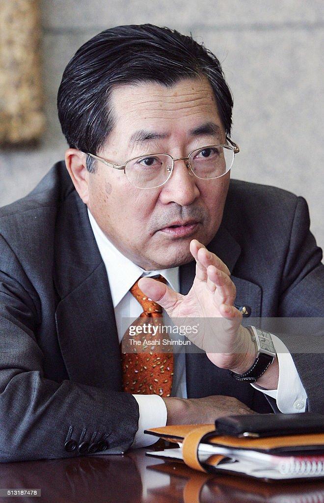 Yamanouchi Pharmaceutical President Toichi Takenaka speaks during the Asahi Shimbun interview on November 10 2004 in Tokyo Japan