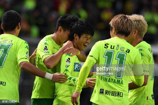 Yamato Machida of JEF United Chiba celebrates the first goal during the JLeague J2 match between JEF United Chiba and Yokohama FC at Fukuda Denshi...