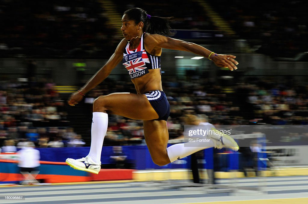 <a gi-track='captionPersonalityLinkClicked' href=/galleries/search?phrase=Yamile+Aldama&family=editorial&specificpeople=833139 ng-click='$event.stopPropagation()'>Yamile Aldama</a> of Great Britain in action during the Womens Triple Jump during the British Athletics International Match at the Emirates Arena on January 26, 2013 in Glasgow, Scotland.