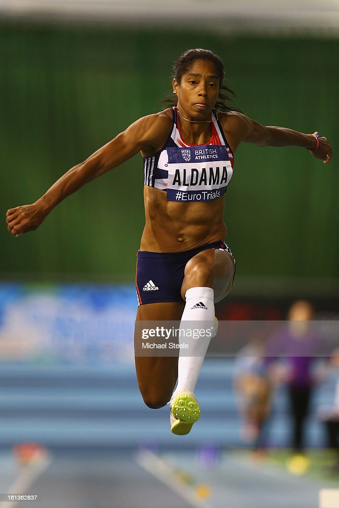 <a gi-track='captionPersonalityLinkClicked' href=/galleries/search?phrase=Yamile+Aldama&family=editorial&specificpeople=833139 ng-click='$event.stopPropagation()'>Yamile Aldama</a> on her way to victory in the women's triple jump final during day two of the British Athletics European Trials & UK Championship at the English Institute of Sport on February 10, 2013 in Sheffield, England.